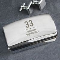 Personalised Big Age Cufflink Box - Ideal gift for Weddings, Father's Day, Birthdays.